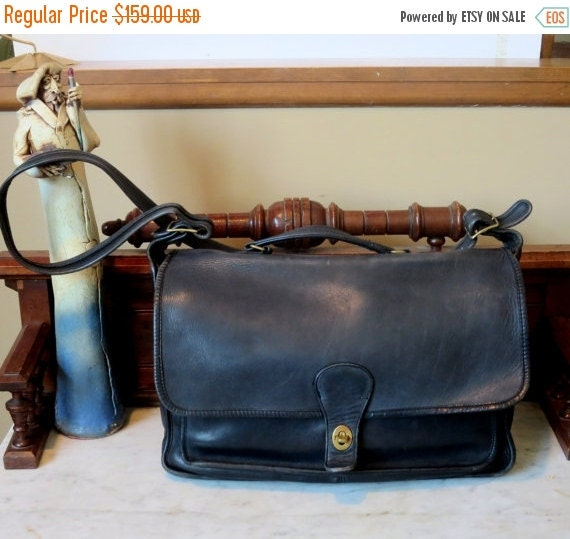 Football Days Sale Coach Rare NYC Metropolitan Black Leather Briefcase Attache Laptop Ipad Carrier- Made At The Factory In New York City- U.