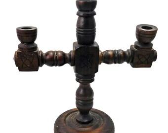 Vintage Gothic Wood Candelabra Candle Holder
