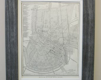 Antique 1908 New Orleans, Lousiana Map Framed