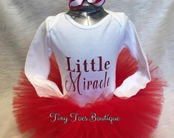 Baby irl my first christmas little miracle red tutu set