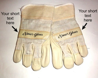 Personalized Work Gloves. Printed Gloves With Your Name, Message. Custom Protective Gloves. Personalised Safety Gloves. Custom Garden Gloves