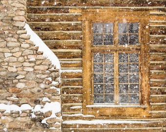 Rustic Winter Decor, Log Cabin Photo, Wyoming, Snow Photograph, Ranch, Country Home Decor, Winter Photograph, Western Art, Rustic Wall Art