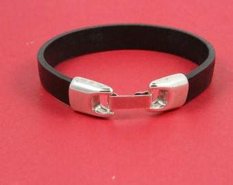 5/5 MADE in EUROPE zamak snap clasp, silver flat cord clasp, 9,5mm flat cord clasp flat cord snap clasp (Ablz91S) Qty1