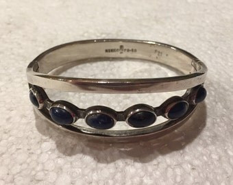 Vintage Sterling Silver Mexican Bracelet with Blue-Black Set In Lapis Stones