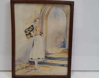 vintage french framed watercolor, french art, french painting, Brittany woman