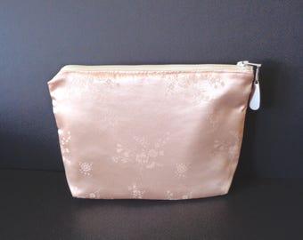Peach clutch, satin clutch, brides purse, bridal clutch, bridesmaid gift, wedding purse, evening bag, cosmetic pouch, jewelry pouch