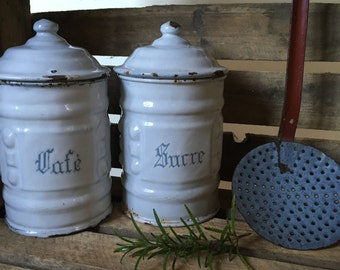 Vintage French Enamel Canisters, Storage Jars, Shabby Chic, Decorative, Collectible, Rustic Kitchen,  French Enamelware, French Home Decor