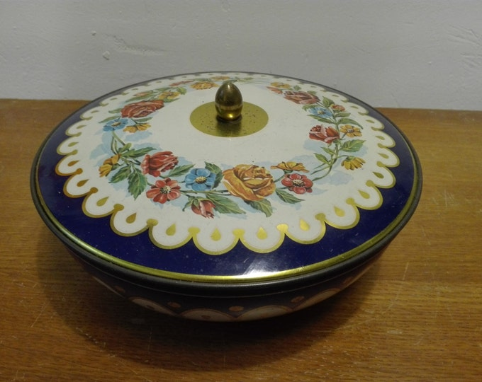 Vintage flowered tin, made in England, 18 cms