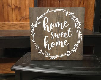 Wood sign - Home sweet Home - Distressed sign - Wall Decor -  Rustic Sign - Home Sign -