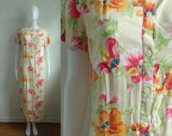 35%offJuly21-24 floral midi dress size large 12, tropical hawaiian print lightweight rayon dress, 90s liz claiborne shirt dress