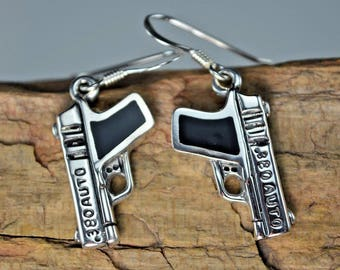 Sterling silver .380 Semi Automatic gun earrings with inlaid black resin