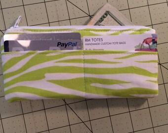 Lime zebra card wallet