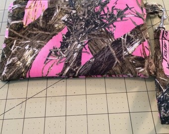 Pink True Timber Camo Padded Wristlet, Makeup Bag, Zippered Pouch, Ready to Ship
