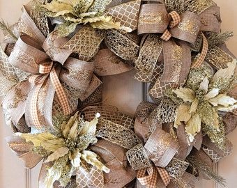 Ivory and Champagne Gold Glitter Poinsettia Christmas Wreath; Christmas Decor; Holiday Decor Wreath Handmade Wreath; Vintage Christmas Decor