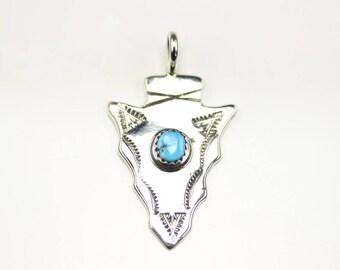 Navajo Indian Jewelry Handmade Sterling Silver Turquoise Arrowhead Pendant