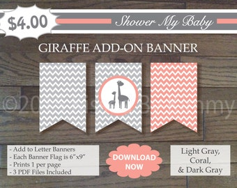 Coral and Gray Giraffe Add-On Banner - 60% Off- Printable Baby Girl Shower Banner-Light Gray Coral - Chevron Peach Baby Shower Decor - 22-3
