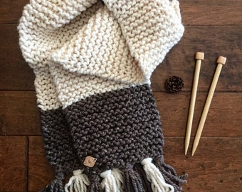 Chunky Knit Scarf//Tassel Scarf//Long Knit Scarf//Cream & Brown Scarf//Garter Stitch Scarf//Oversize Scarf//Knit Scarf//Large Knit Scarf