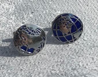 Globe Cufflinks, Map cufflinks, Silver cufflinks, World Map cufflinks, Nautical cufflinks