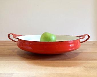 "Vintage Dansk Kobenstyle Red Enamel 10"" Paella Pan | Dansk Designs Denmark IHQ"