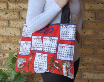 1980 Market Bag Calendar Tea Towel Bag Recycled Denim Tote made from a 1980 Calendar Tea Towel and recycled denim jeans (37th Birthday)