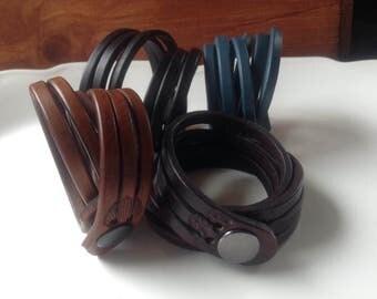Black triple strand wrap bracelet