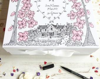 Wedding Keepsake Box Hand Illustrated