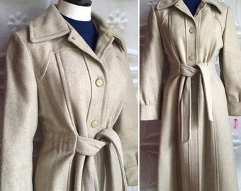 1970s 70s tan wool winter trench coat trenchcoat