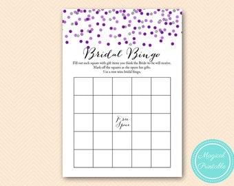 Purple Silver Bridal Shower Games, Bridal Bingo, Bridal Bingo Cards, Bridal Shower bingo Game Printable, Bridal Shower Game BS426