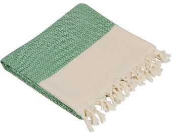 "BIG SALE 60% - Grass Green Turkish Peshtemal-100x180 cm / 40""x71"" - Spa Towel Turkish Towel Beach Towel Bath Towel"