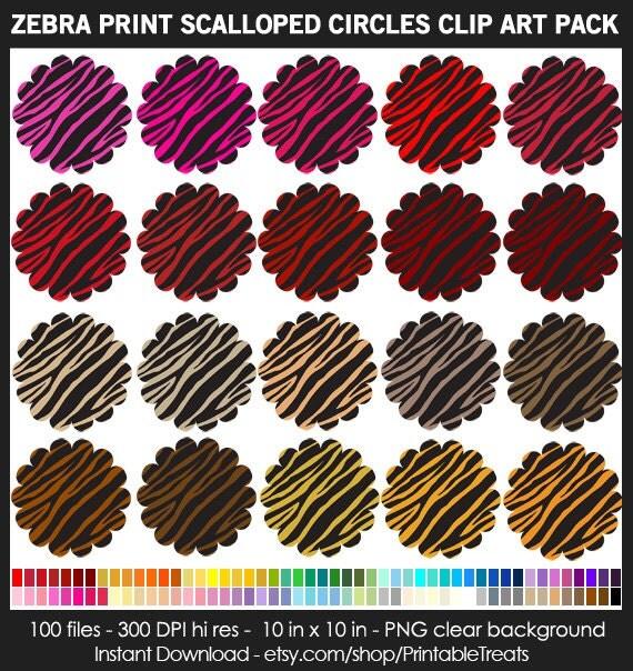 100 Colors Zebra Print Scalloped Circles Clipart