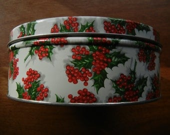 Round Holiday Tin ~ 7 Inches Diameter with Holly and Berry Motif