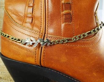 Brass boot bracelet, Brass branch & rhinestone boot bracelet, Boot bling, Boot anklet, Brass cowgirl bracelet, Cowboy boot bracelet, Anklet