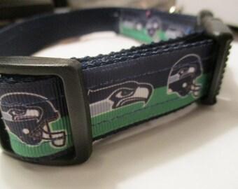 Handmade Seahawks dog collar Adjustable nylon