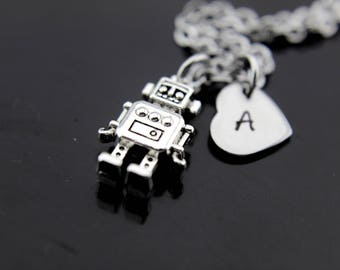 Robotic Engineer Graduation Gifts, Robot Necklace, Silver Robot Charm Necklace, Engineer Gifts, Personalized Necklace, Initial Charms