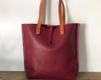 Shopping bag / Burgundy leather bag / Tote bag
