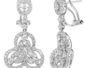 2.73 CT 18K White Gold Diamond Drop Dangle Pyramid Shape Circle Earrings