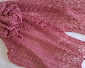 pink lace scarf/ lace scarf/ summer scarf/ wedding scarf/ pink scarf