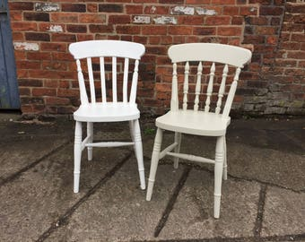 Farmhouse Dining Chairs custom painted to order. Solid wood chair finished in any Farrow and Ball paint colour with spindle Slat seat backs