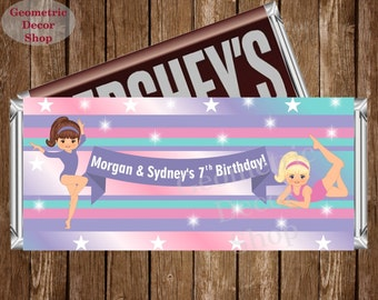 Gymnastic Chocolate Bar Gymnastics Girl Pink Purple Teal Birthday Candy Bar Chocolate Wrappers Favor Hershey Dual Combined joint double CBG2