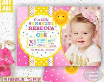 Sunshine Birthday Party Invite Sunshine First Birthday Invite You are my Sunshine Pink Yellow Digital PRINTABLE Photo Photograph BDS1