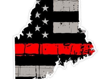 Maine State (C20) Thin Red Line Vinyl Decal Sticker Car/Truck Laptop/Netbook Window