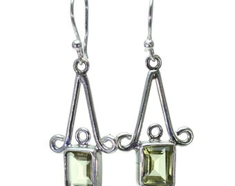 Lemon Quartz Earrings, 925 Sterling Silver, Unique only 1 piece available! color yellow, weight 4.6g, #24846