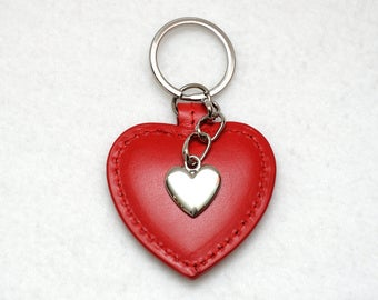 Womens gift|for|her Leather keychain Womens keychains Womens key chain Red Keyring Red Heart Leather keyring wife gift womens key organizer
