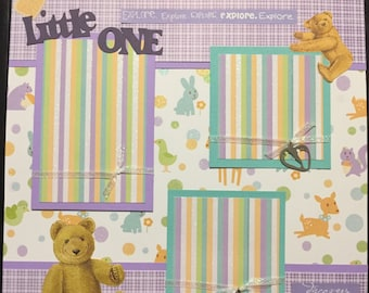 LITTLE ONE baby with charms Premade 12x12 scrapbook page