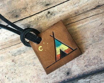 Bulk order discount, mini luggage tag favor, camping luggage tag, camping tag, custom luggage tags