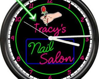 Personalized Name Nail Salon Technician Finger Nails Polish Tools Retro Vintage Sign Wall Clock