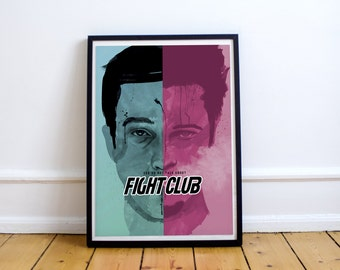 FREE SHIPPING** Fight Club - Custom Minimal Modern Art Movie Poster Print Abstract