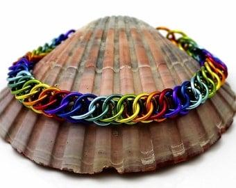 Rainbow Chainmaille Bracelet, Aluminium Rainbow Bracelet, Multi Coloured Chainmaille Bracelet, Chain Mail Bracelet, Chainmail Bracelet