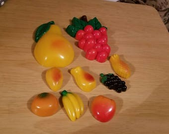 Nine Plastic Fruit Refrigerator Magnets