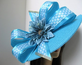 Turquoise Blue Polka Dot Bow Jeweled Flower Kentucky Derby Easter Straw Hat